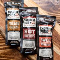 Cheshire Pork Uncured Milano Salami, Hot & Sweet Sopressata 6oz Chub