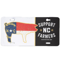 Support NC Farmers License Plate, White/Black