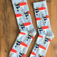 NC Pig Flag Socks, Light Blue