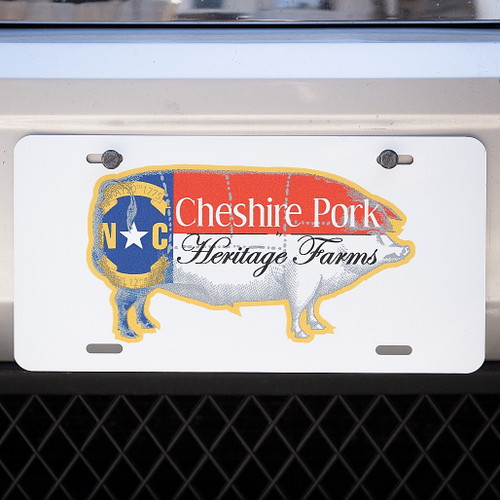Cheshire Pork Logo License Plate in White #pigswag