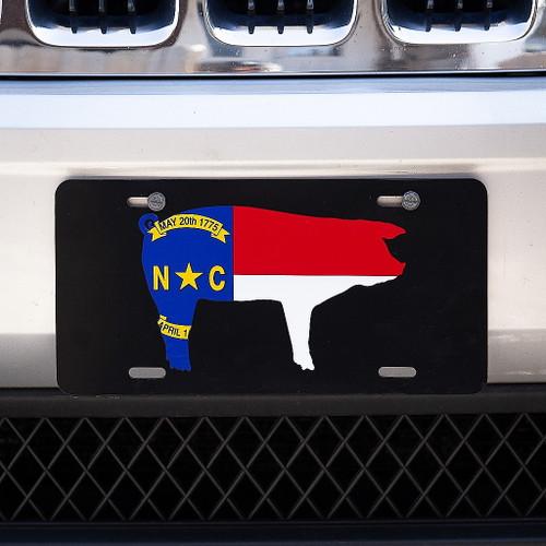 North Carolina Pig Flag License Plate, Black