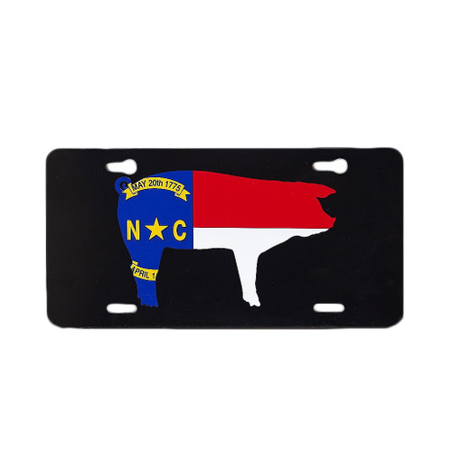 NC Pig Flag License Plate, Black