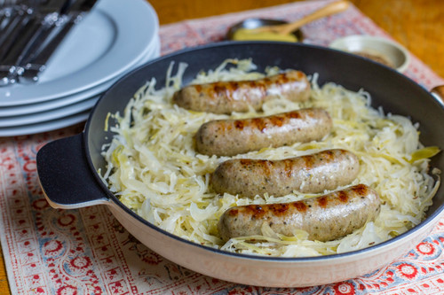 RECIPE: CHESHIRE PORK BRATWURST AND SAUERKRAUT