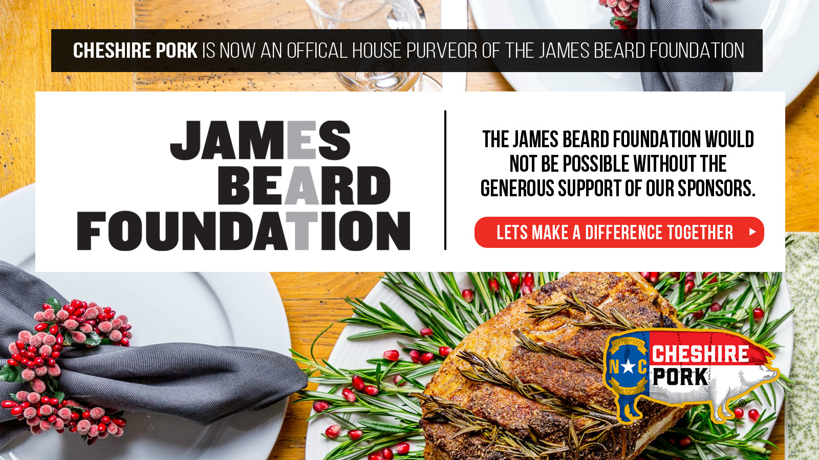 Cheshire Pork - proud sponsor of the James Beard Foundation