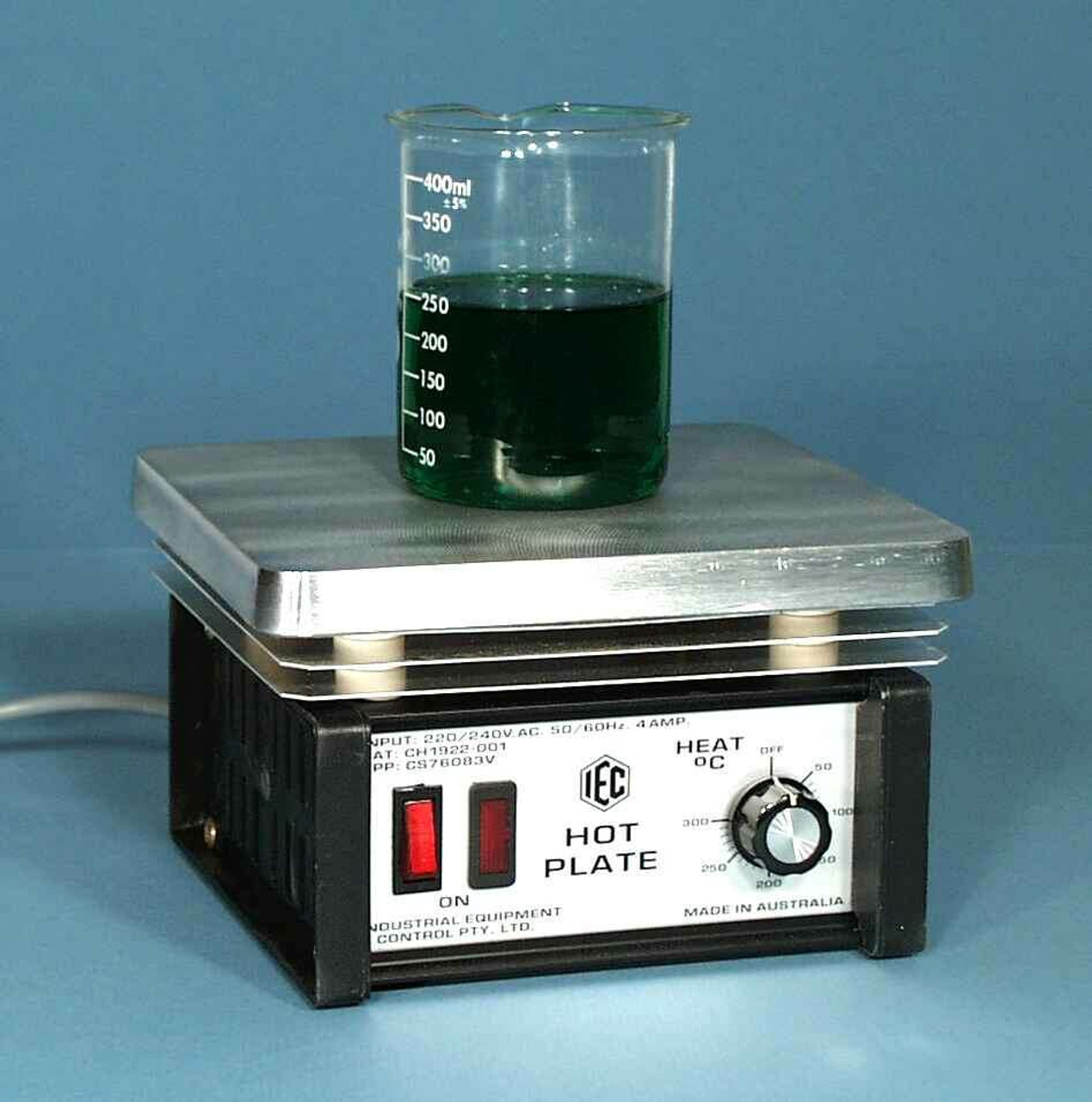 Lab Hotplate with Thermostat 320°C Control, 200x180mm PTFE Coated Plate