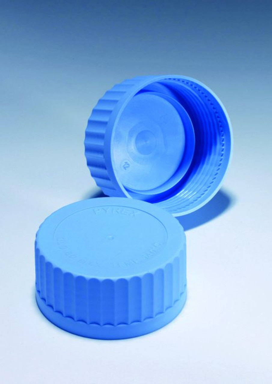PYREX Spare Screw Cap Lids, Blue Polypropylene, GL45 (Pack of 4)