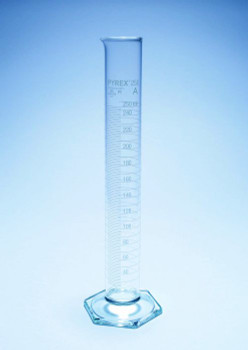 PYREX Calibrated Borosilicate Glass Measuring Cylinder, Tall Form, Class A, 250ml