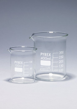 PYREX Borosilicate Glass Beaker, Low Form, 400ml (Pack of 2)