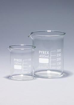 PYREX Borosilicate Glass Beaker, Low Form, 600ml (Pack of 2)