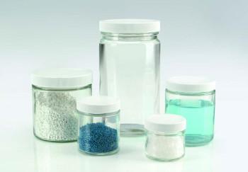 WHEATON® Glass Sample Jars with White PP Lids, 60ml Capacity, 55x50mm