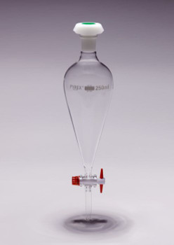 PYREX Separating Funnel, Conical, Graduated with PTFE Stopcock, 500ml