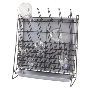 Lab Glassware Draining Rack for 90 Pieces, Free Standing, Coated Steel