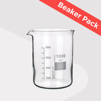 Low Form Heatproof Beaker Pack (Pack of 7 Sizes with Glass Stirring Rod)