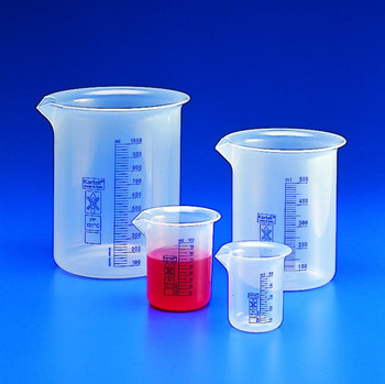 Blue Graduated Low Form Beaker, 2000ml, Polypropylene