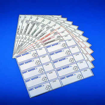 Safety ID Labels, Distilled Water (10 Stickers)