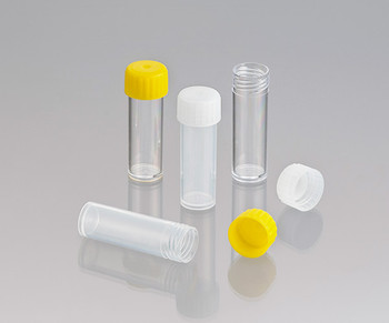 Screw Cap Test Tubes, Polypropylene, Flat Bottom, Labelled, Sterile with Yellow Cap, 5ml