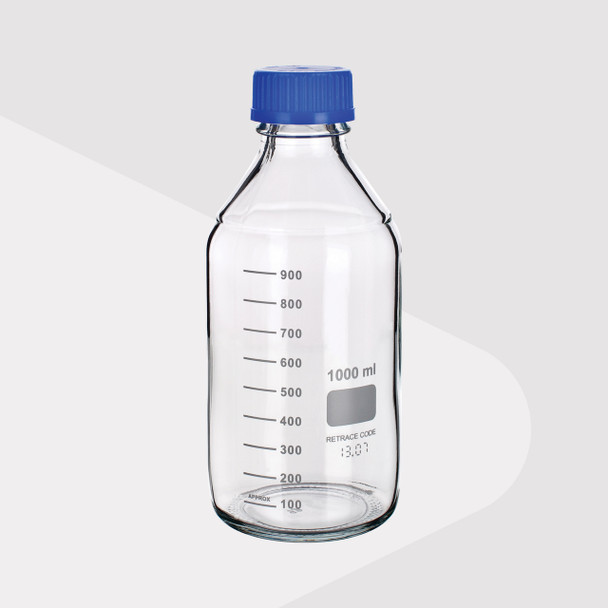 Laboratory Screw Cap Bottle, Clear Borosilicate Glass, 1000ml
