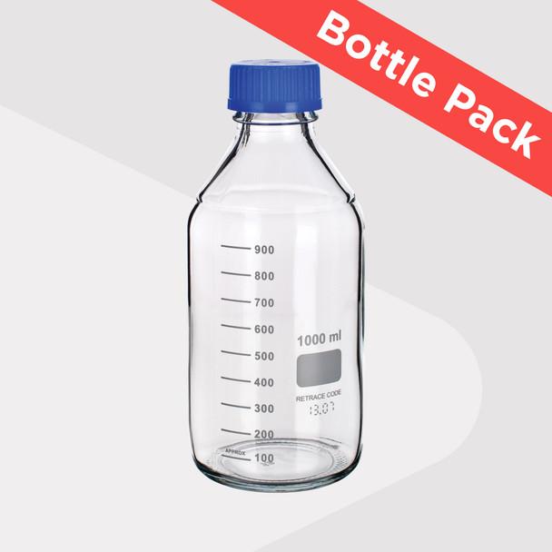 Laboratory Screw Cap Bottles, Clear Borosilicate Glass (4 Various Sizes Pack)