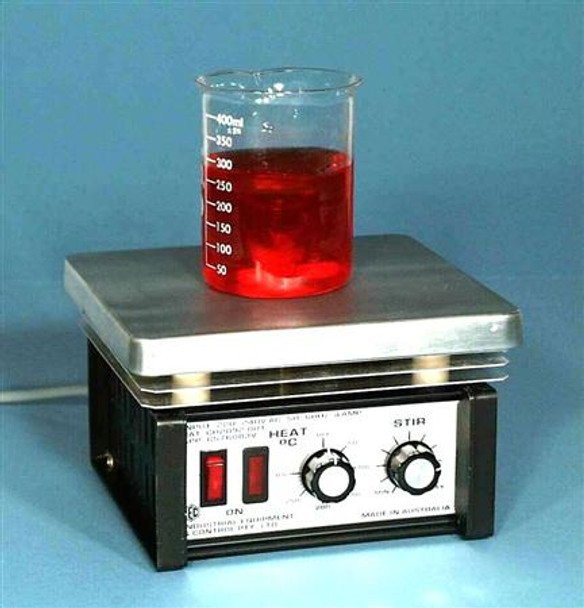 Lab Hotplate with Magnetic Stirrer, Simmerstat Max 450°C Control, 200x180mm PTFE Plate