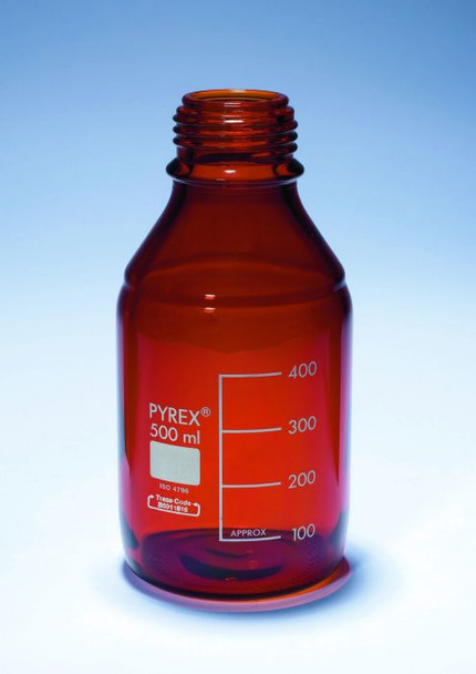 PYREX Amber Coated Media Bottle with Screw Cap