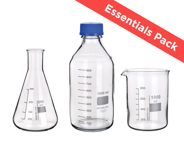 Glass Beaker, Flask and Bottle Essentials Pack