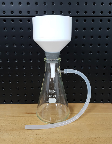 Vacuum Filtration Setup with PYREX 500ml Filter Flask, 90mm Filter Funnel & Pump (Complete Kit)