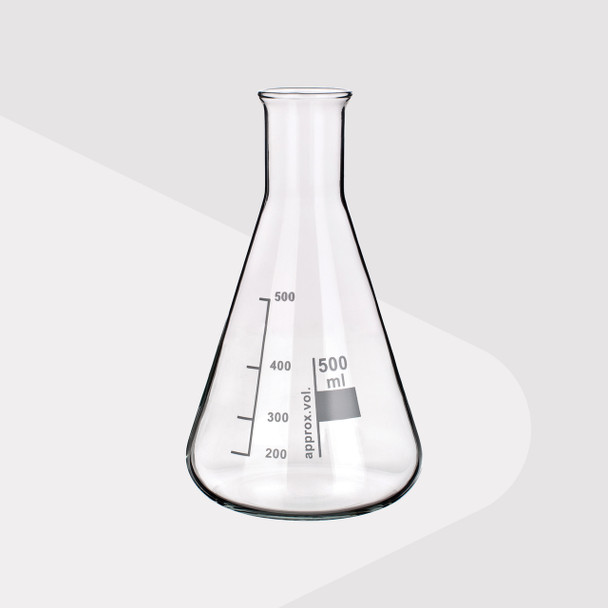 Borosilicate Glass Erlenmeyer Flasks, Narrow Neck, 500ml (Pack of 2)
