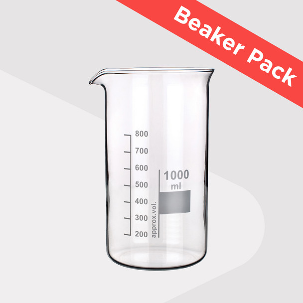 Tall Form Heatproof Beaker Pack (Pack of 5 Sizes with Glass Stirring Rod)
