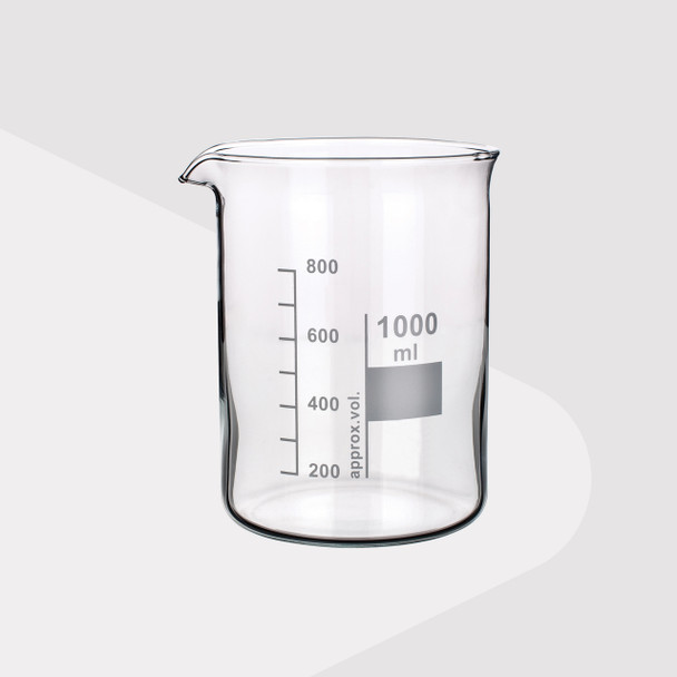 Borosilicate Glass Beakers, Low Form, 1000ml
