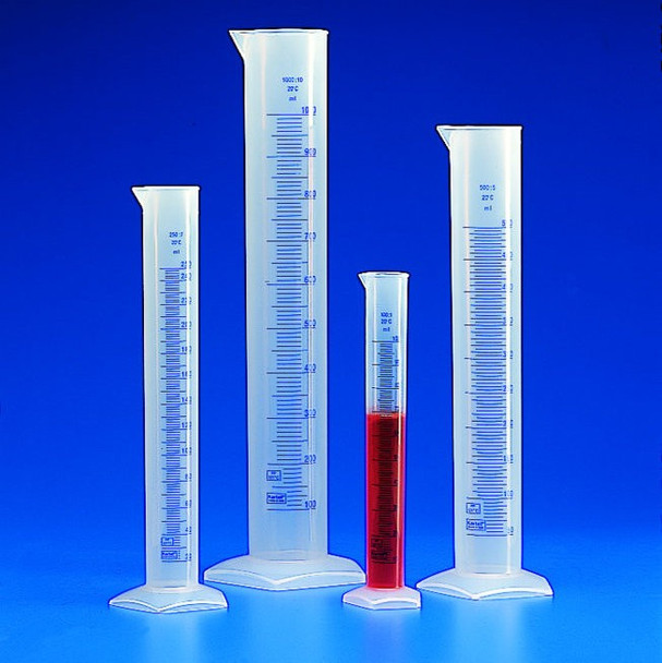 Polypropylene Measuring Cylinder, Tall Form, Blue Graduated, 500ml