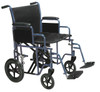 """Bariatric Heavy Duty Transport Wheelchair with Swing Away Footrest, 22"""" Seat, Blue"""
