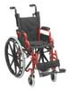 """Wallaby Pediatric Folding Wheelchair, 12"""", Fire Truck Red"""