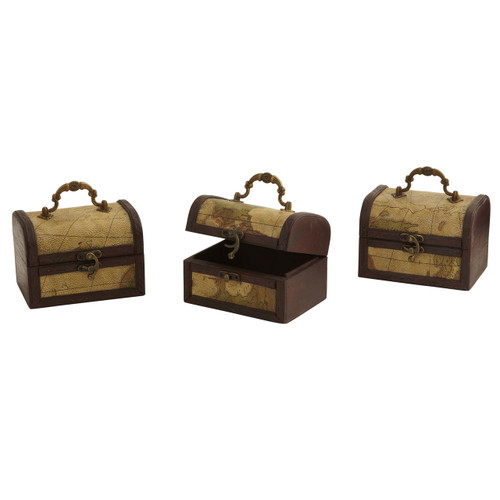 Decorative Trunk Chests with Map Design