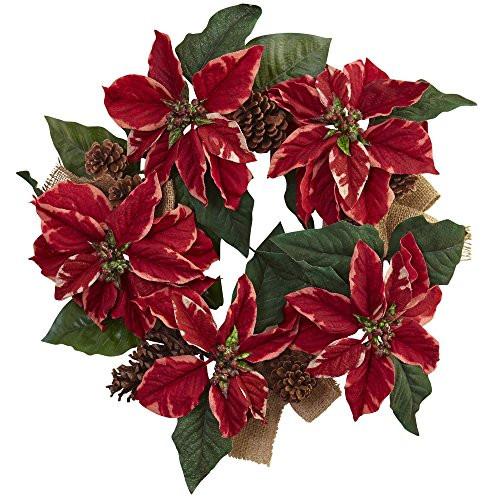 """22"""" Poinsettia, Pine Cone & Burlap Wreath"""