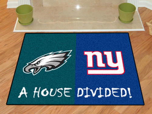 "NFL - Eagles - Giants House Divided Rug 33.75""x42.5"""