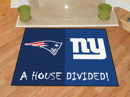 "NFL - Patriots - Giants House Divided Rug 33.75""x42.5"""