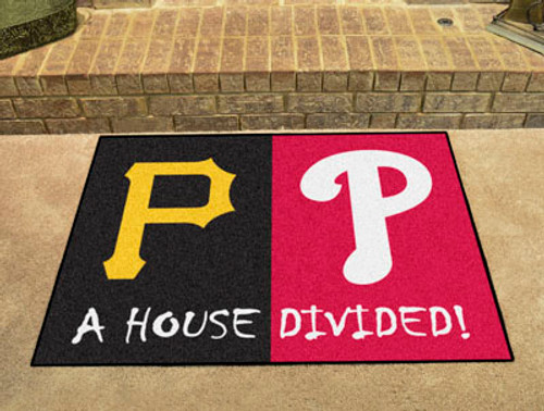 "MLB - Phillies - Pirates House Divided Rug 33.75""x42.5"""