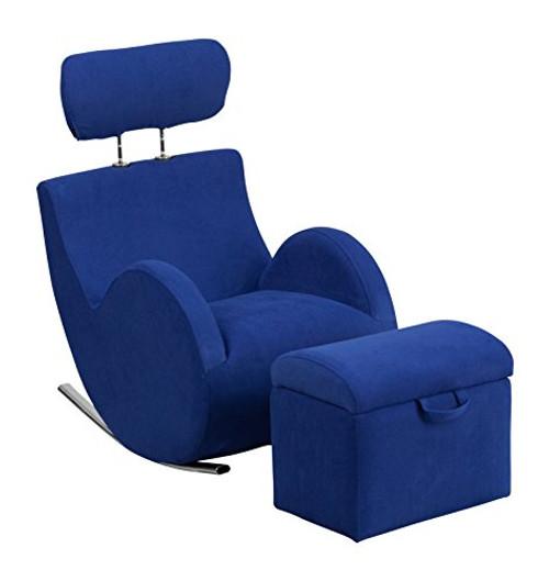 Blue Fabric Rocking Chair LD-2025-BL-GG