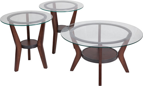 Glass, Wood cocktail table set FSD-TS3-61DB-GG