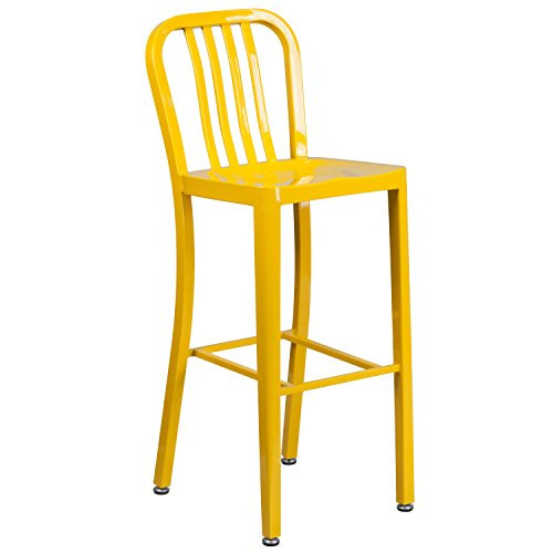 "30"" Yellow Metal Stool w/ Back CH-61200-30-YL-GG"
