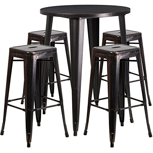 "30""Round Antique Bar Table Set CH-51090BH-4-30SQST-BQ-GG"