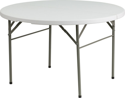 48'' Round Bi-Fold White Table DAD-122RZ-GG