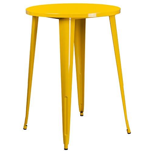 """30"""" Yellow Metal Bar Table CH-51090-40-YL-GG"""