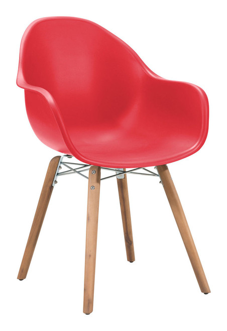 Zuo Modern 703754 Tidal Dining Chair Red Set of 4
