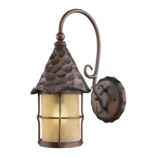 Elk Lighting 385-AC Rustica 1 Light Outdoor Wall Sconce In Antique Copper And Amber Scavo Glass