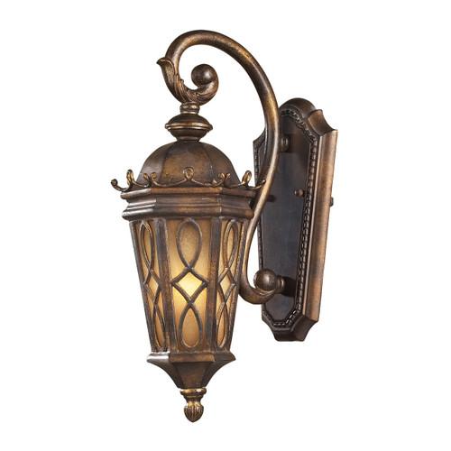 Elk Lighting 42000/1 Burlington Junction 1 Light Outdoor Sconce In Hazlenut Bronze And  Amber Scavo Glass