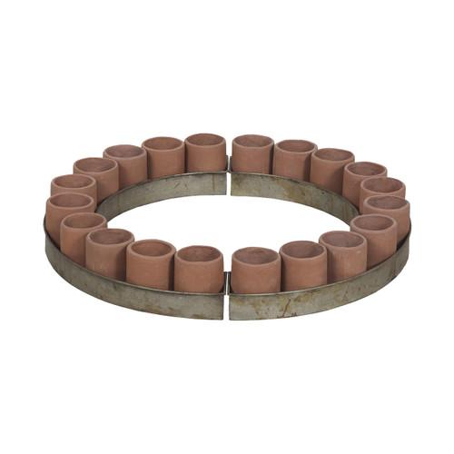 Guildmaster 2015516 Terra Cotta Tea Light Ring In Natural Terra Cotta And Aged Tin