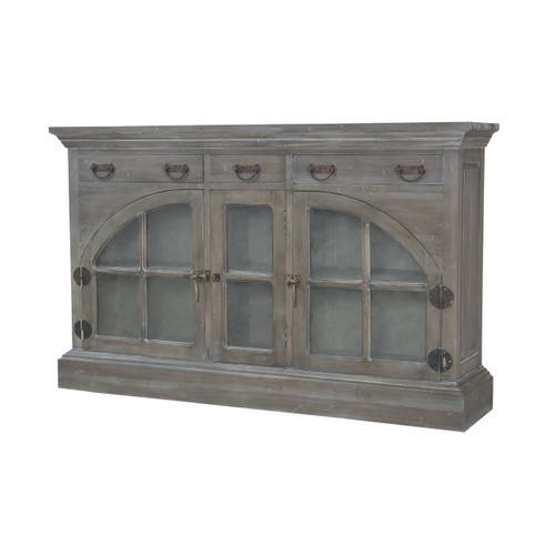Guildmaster 6415507 Farmhouse China Credenza In Waterfront Grey Stain And White Wash