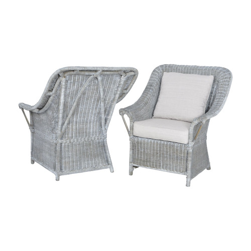 Guildmaster 6515511P Retreat Chairs In Waterfront Grey Stain And White Wash - Set of 2