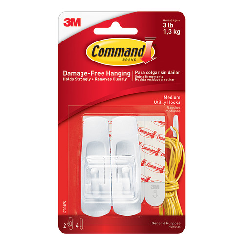 3m Company MMM17001 Command Adhesive Reusable Medium Hooks Pack Of 2